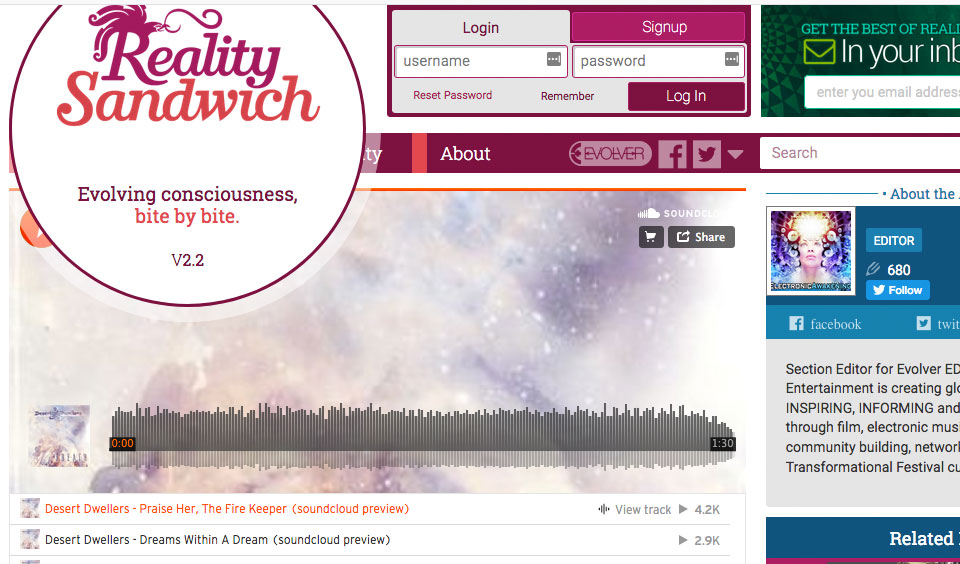 "Reality Sandwich Feature: ""Desert Dwellers' new album"